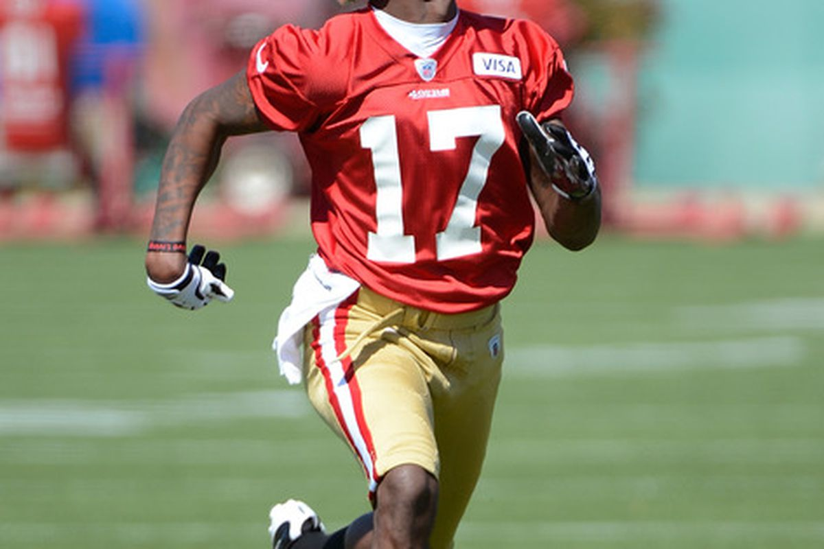 SANTA CLARA, CA - MAY 11:  A.J. Jenkins #17 of the San Francisco 49ers runs a pass rout during Rookie Minincamp at the San Francisco 49ers practice facility on May 11, 2012 in Santa Clara, California.  (Photo by Thearon W. Henderson/Getty Images)