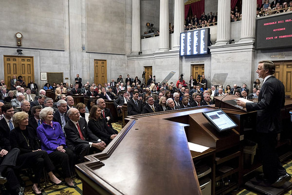 Gov. Bill Haslam delivers his 2016 State of the State address in February, including his proposal to increase funding for K-12 education for the 2016-17 year.