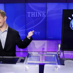 Ken Jennings refers to his opponent, an IBM computer, while being interviewed after a practice round last month.