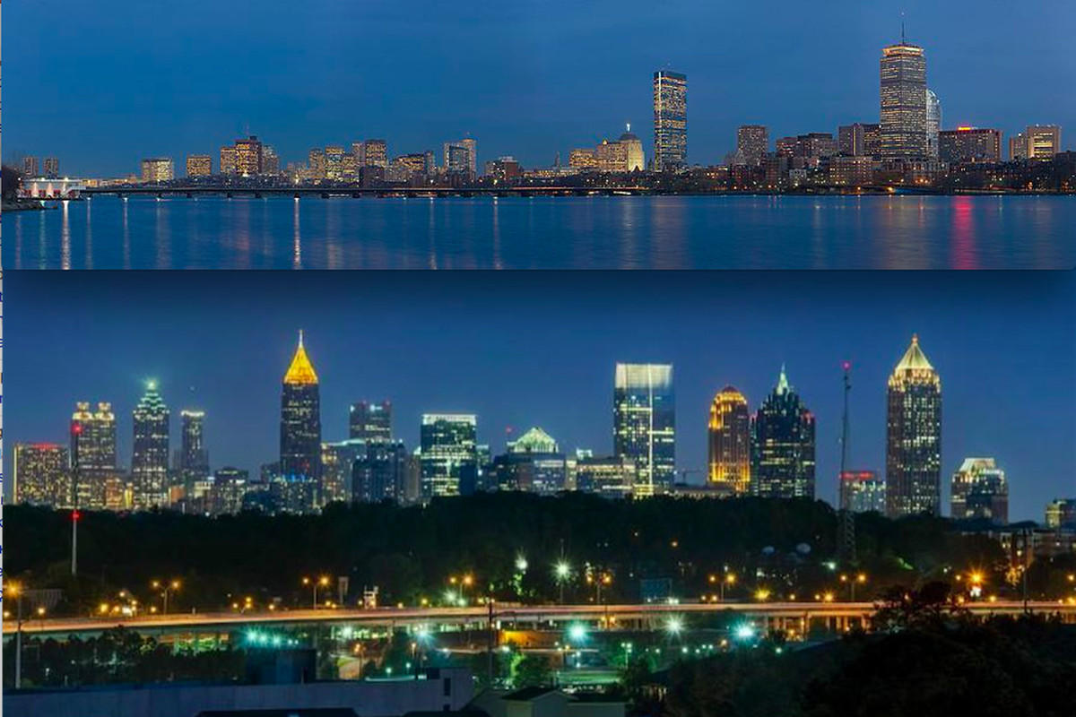 From a distance, Boston's skyline (above) juxtaposed with Atlanta's.