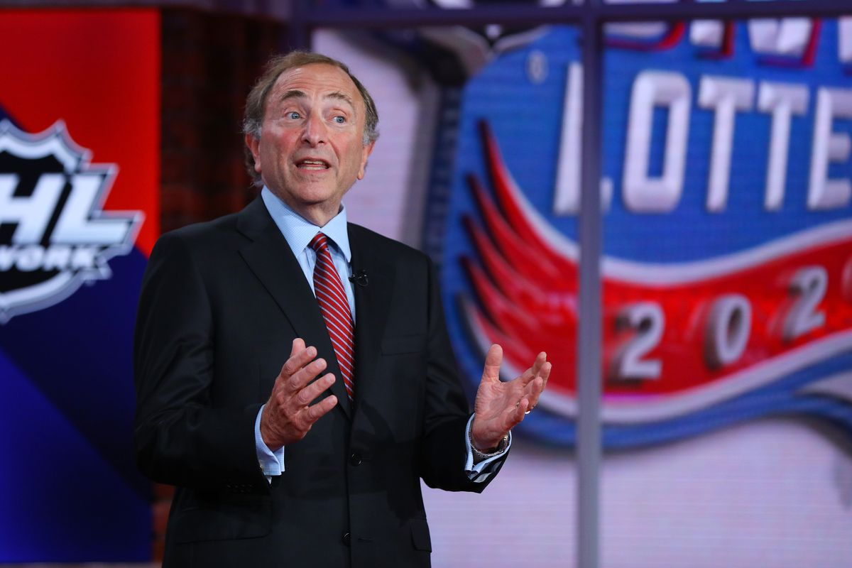 Commissioner of the National Hockey League Gary Bettman is interviewed during Phase 2 of the 2020 NHL Draft Lottery on August 10, 2020 at the NHL Network's studio in Secaucus, New Jersey.