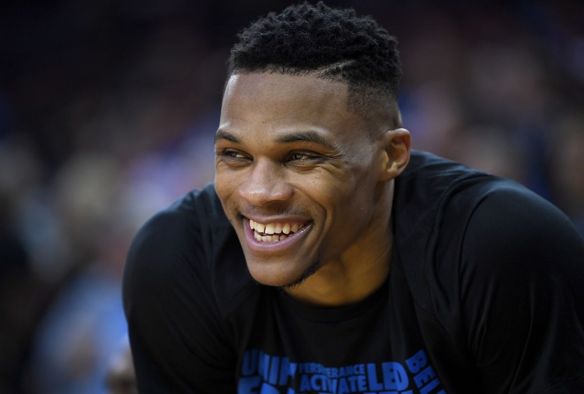 Russell Westbrook smiling widely