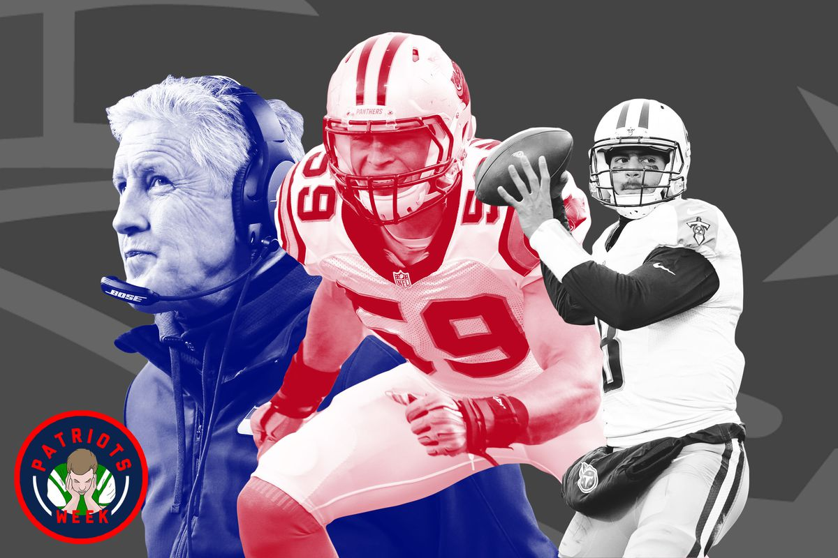 A collage of NFL players Luke Kuechly and Marcus Mariota and Seattle Seahawks coach Pete Carroll