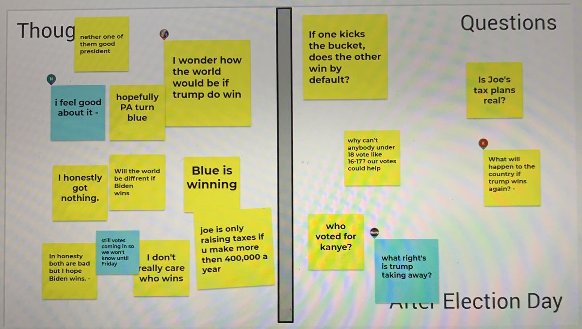 """A screengrab of a """"jam board"""" - virtual post it notes for students to share their thoughts. Notes are sorted into """"thoughts"""" and """"questions"""" about Election Day."""