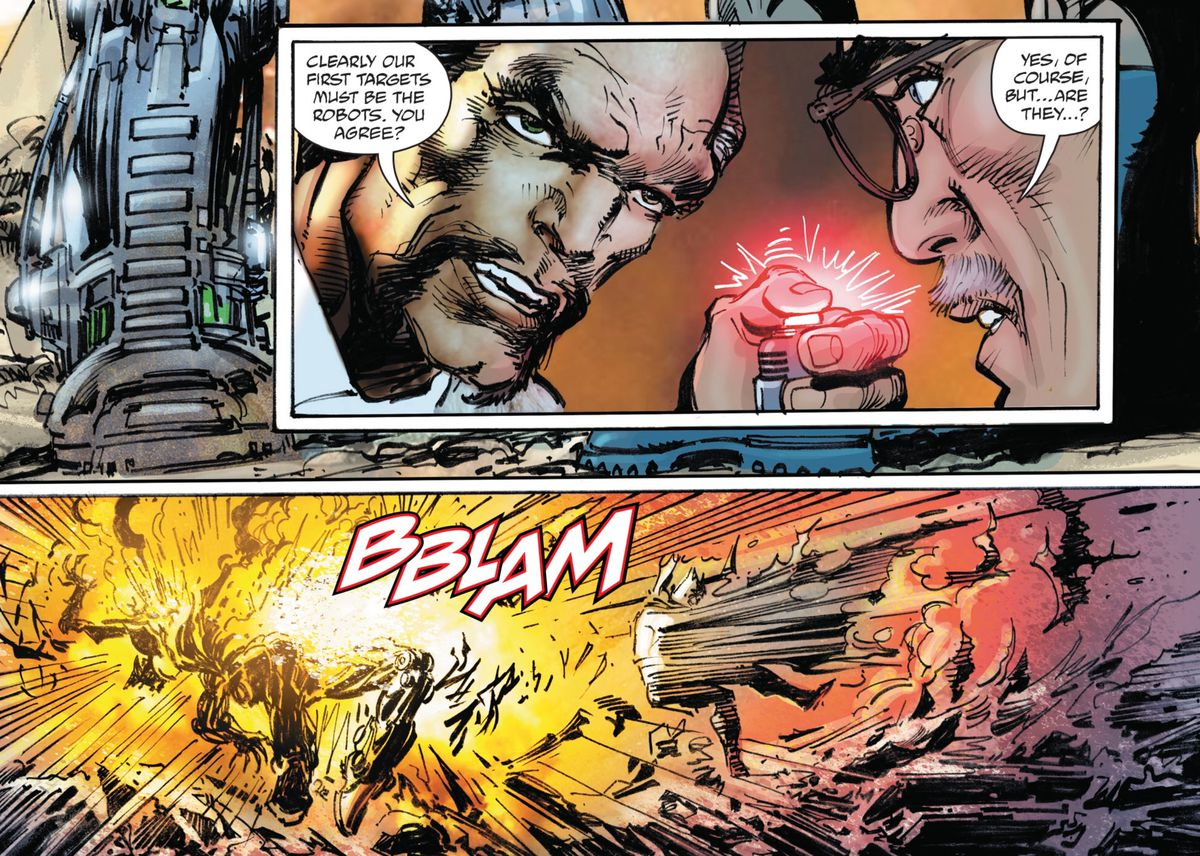With Commissioner Gordon's agreement, Ra's Al Ghul blows up the robots that are right next to Batman, in Batman vs. Ra's Al Ghul, DC Comics (2019).