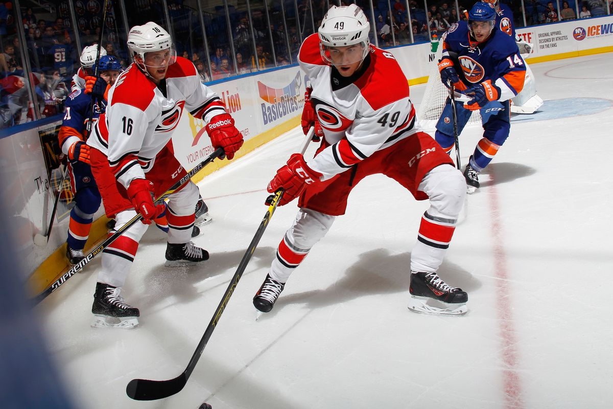 Victor Rask (49) and Elias Lindholm (16) are two candidates to earn a spot at center after Jordan Staal suffered an injury Tuesday in Buffalo.