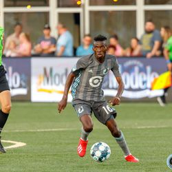 June 25, 2019 - Madison, Wisconsin, United States - Minnesota United midfielder Ally Hamis Ng'Anzi (16) dribbles the ball during the Forward Madison FC vs Minnesota United FC friendly match at Breese Stevens Field.