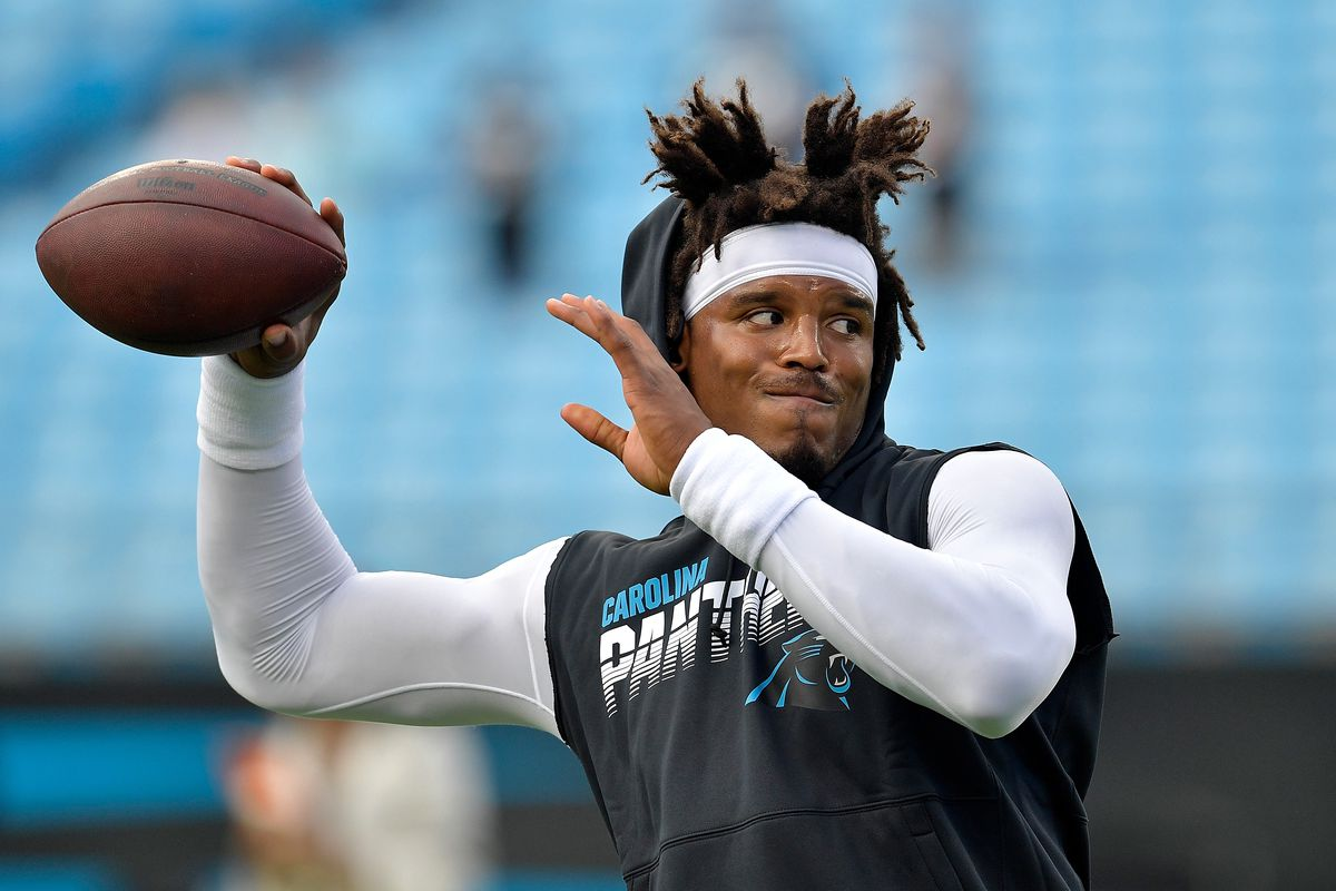 Cam Newton #1 of the Carolina Panthers against the Tampa Bay Buccaneers during the first quarter of their game at Bank of America Stadium on September 12, 2019 in Charlotte, North Carolina.