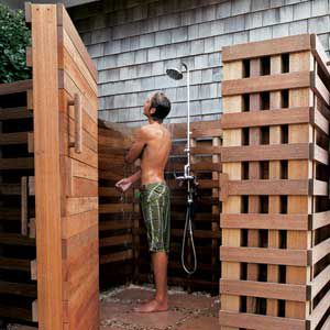 <p><strong>Space to Spare</strong><br>This extra-large, 8-by-12-foot shower in Bridgehampton, N.Y., has mahogany walls, built-in teak benches, and stainless-steel fixtures. Perfect for a post-surfing rinse, it features a foot wash, hand-held spray, and oversized showerhead. The floor is hand-cut Indian stone with river-rock gravel.</p>