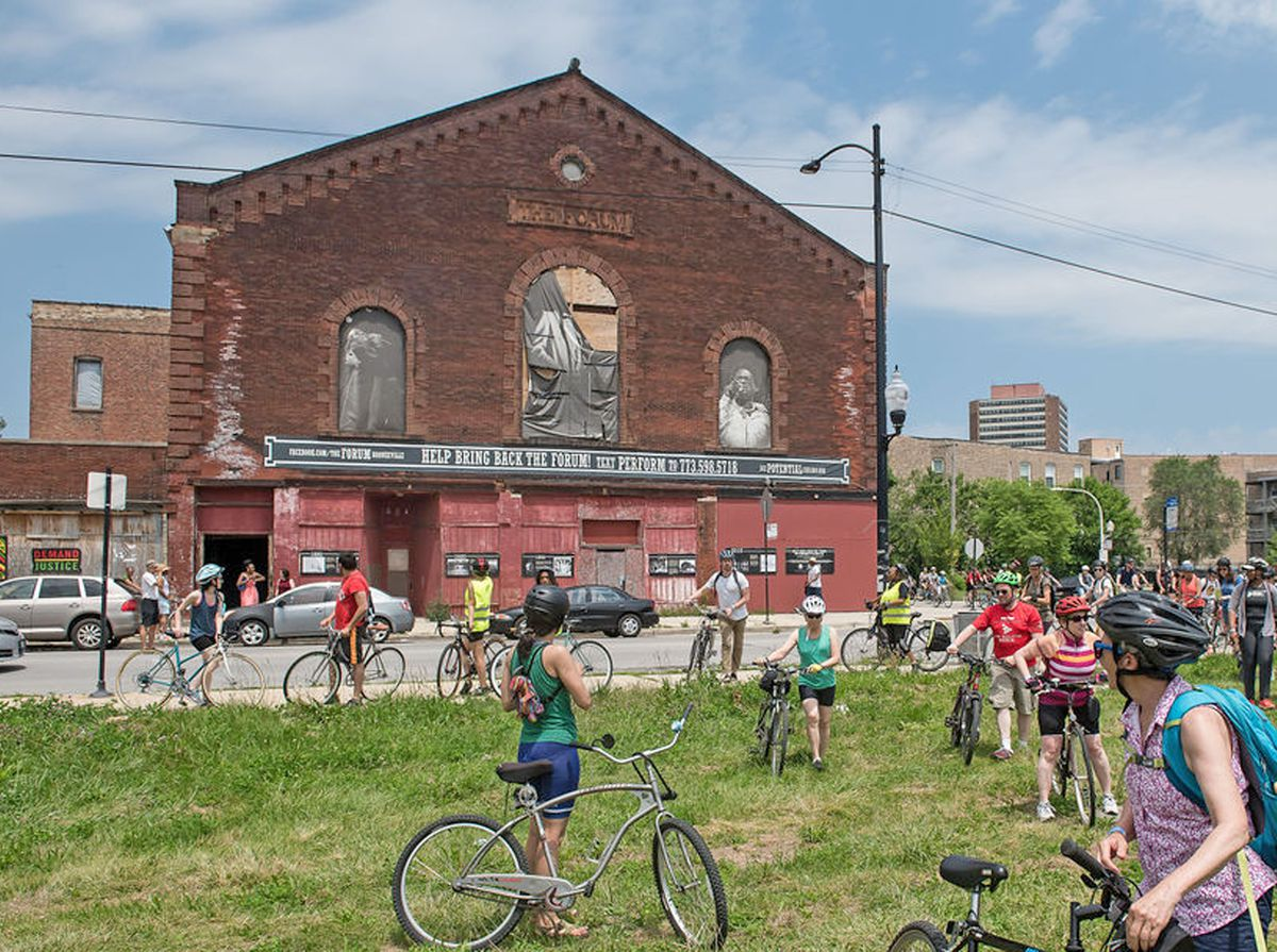 The Forum in Bronzeville, near 43rd Street and Calumet Avenue, was another stop on the bike tour of important sites from the 1919 Chicago race riots.