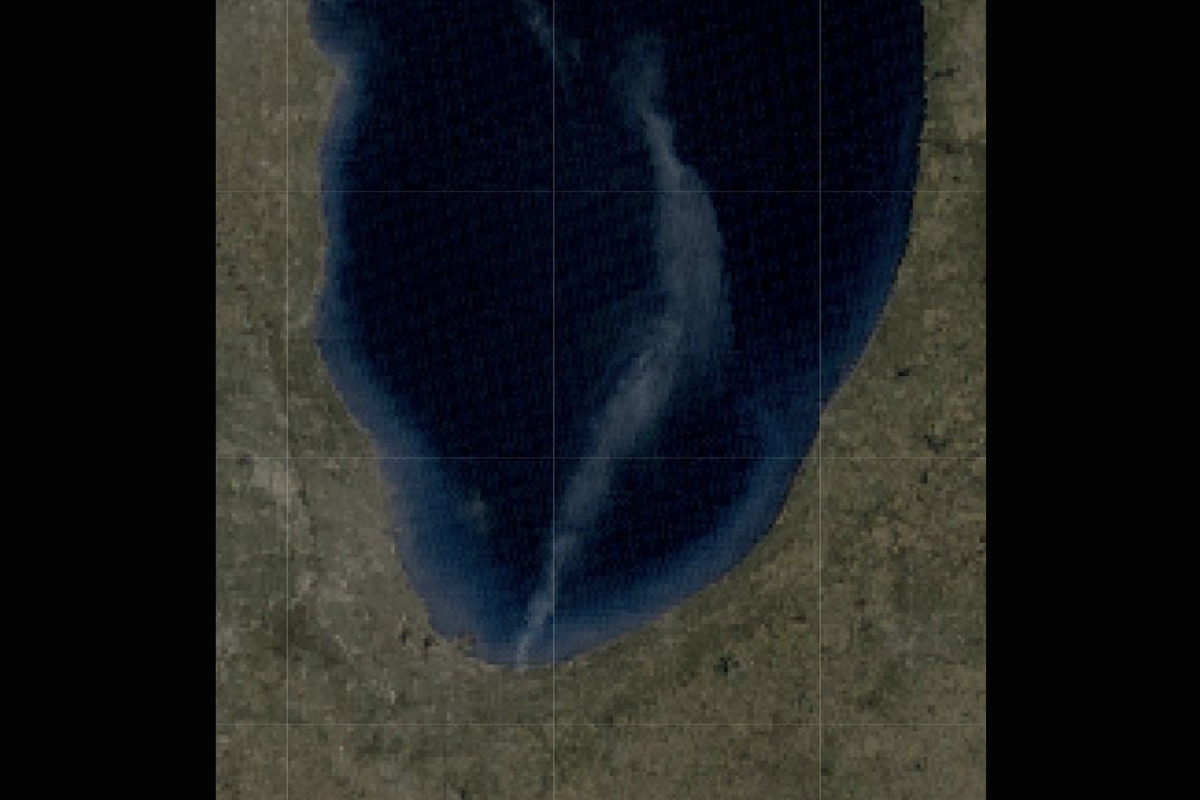 Smoke from a wildfire at the Indiana Dunes National Park can be seen extending 80 miles onto Lake Michigan in this satellite image.