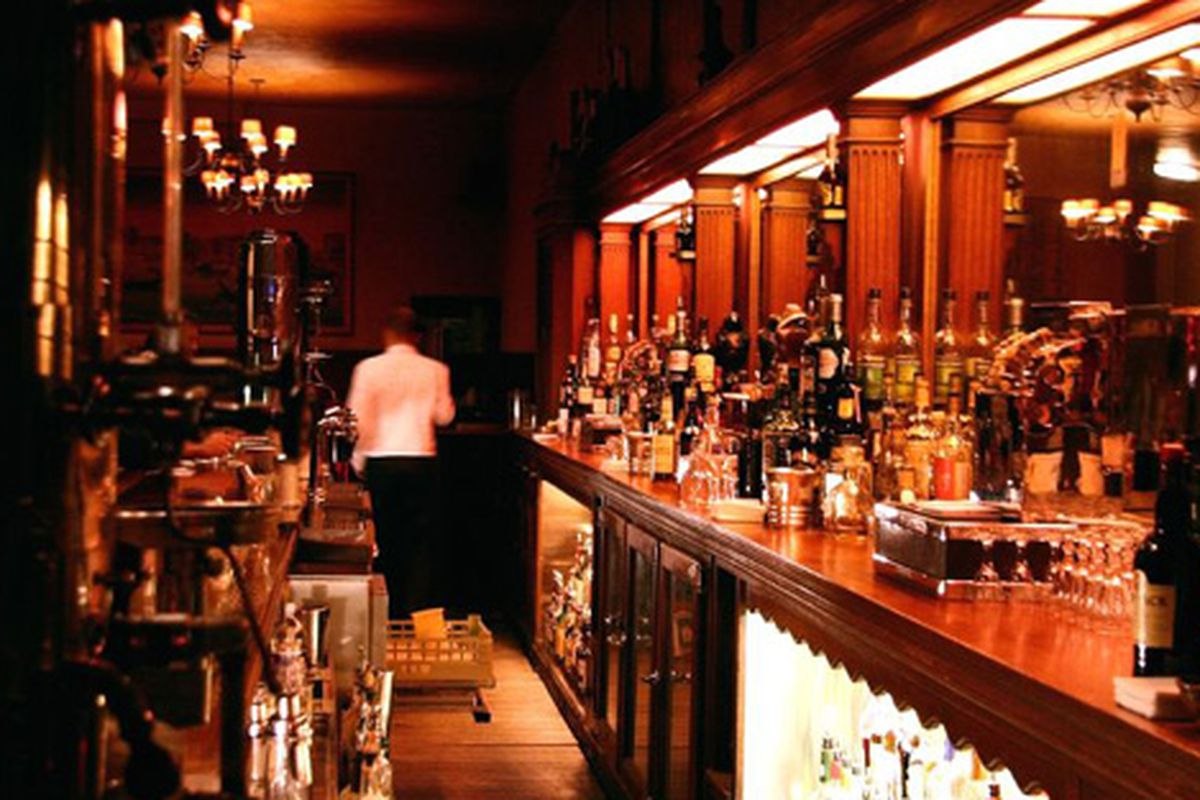 Behind the bar at Tosca.