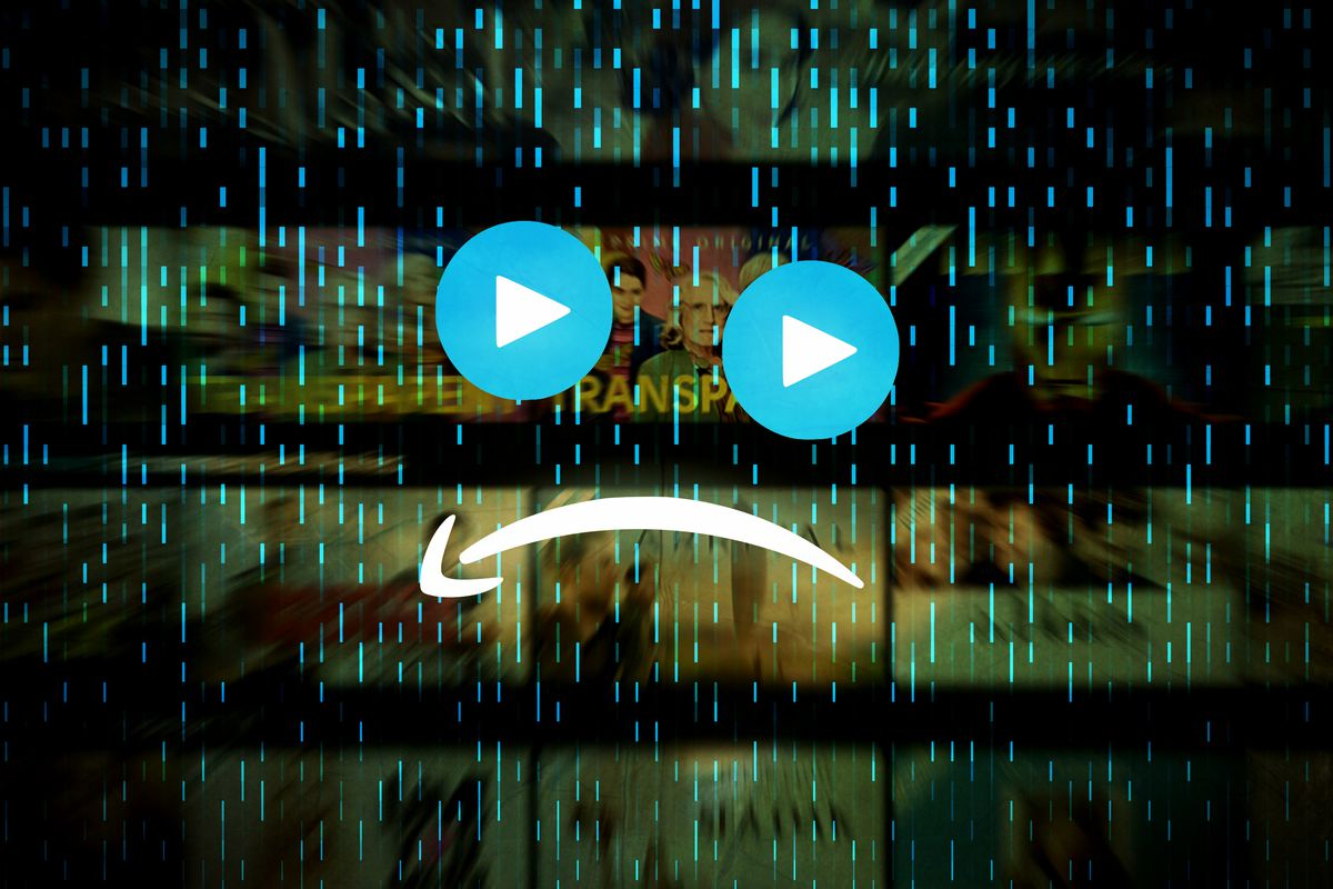 A frowny face made up of play buttons and an upside-down Amazon smile logo