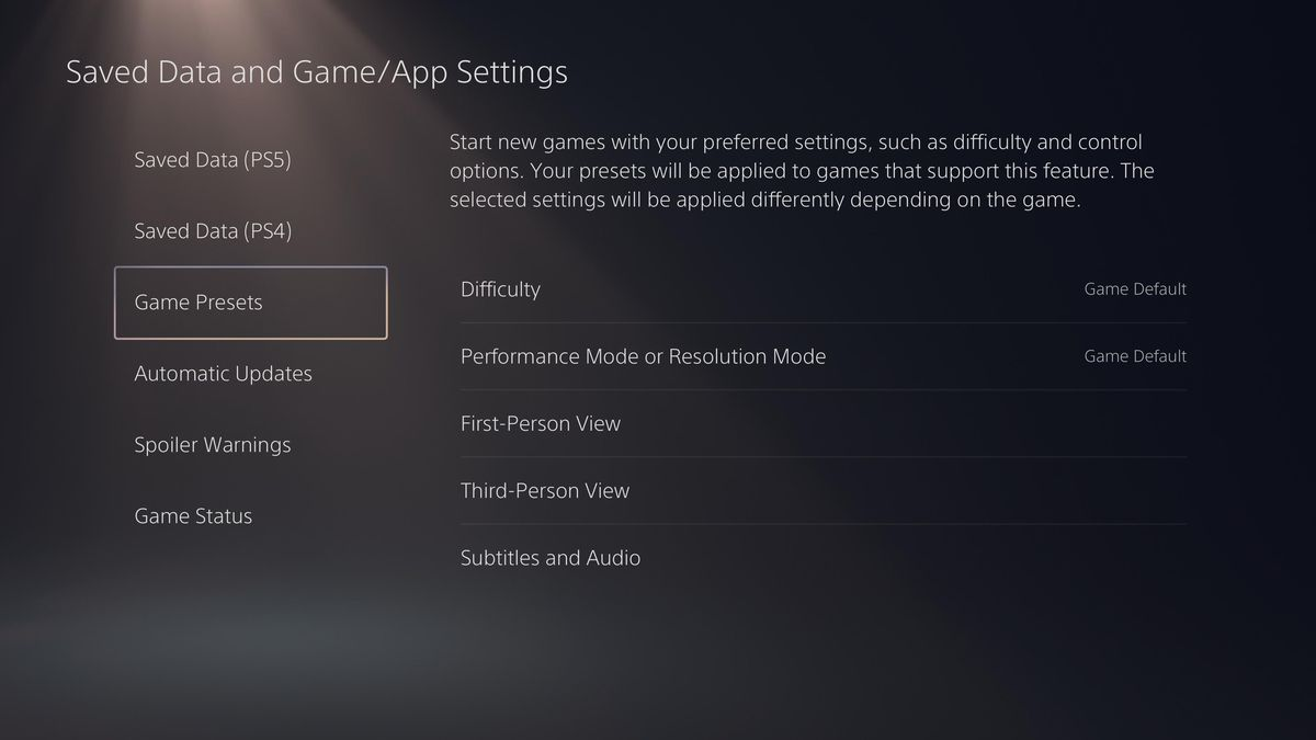 """the """"Saved Data and Game/App Settings"""" section of the PS5 system settings"""