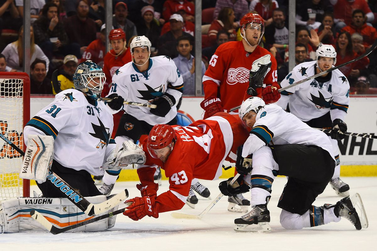 Remember, this is the only way Darren Helm can score goals: while falling down.