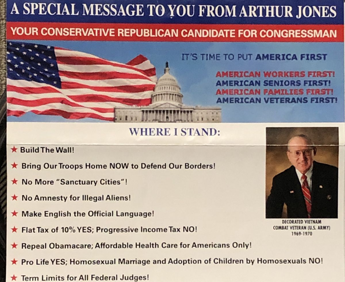 Campaign literature from Arthur Jones touted his support for a wall along the U.S. border. | Neil Steinberg/Sun-Times