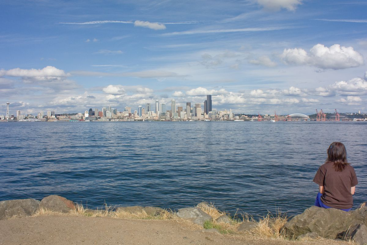 A person with their back turned looks across the bay at the Seattle skyline