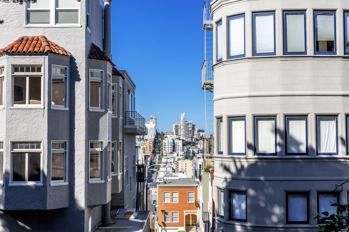San Francisco streets photographed between two apartment buildings.