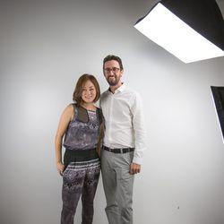 Stella & Jamie designer April Mun with Sales and Distribution Manager Nick Sansone.