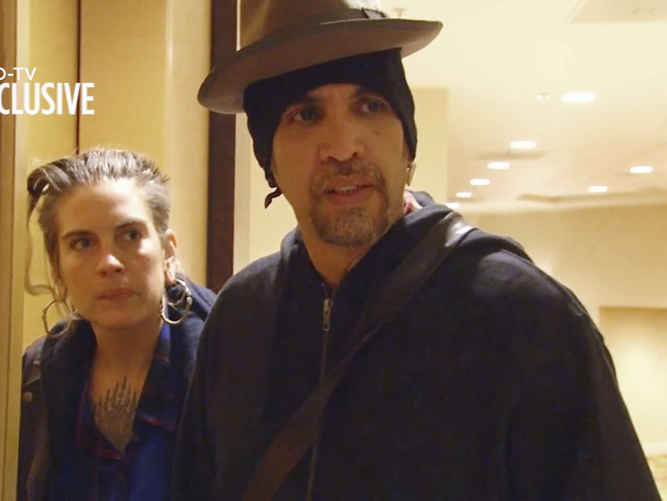 This file photo from exclusive video provided by San Francisco TV station KGO-TV, made late Sunday, Dec. 4, 2016, shows Derick Ion Almena, right, and Micah Allison, the couple who operated the Ghost Ship warehouse where dozens died in a fire, at an Oakland, Calif., courthouse.