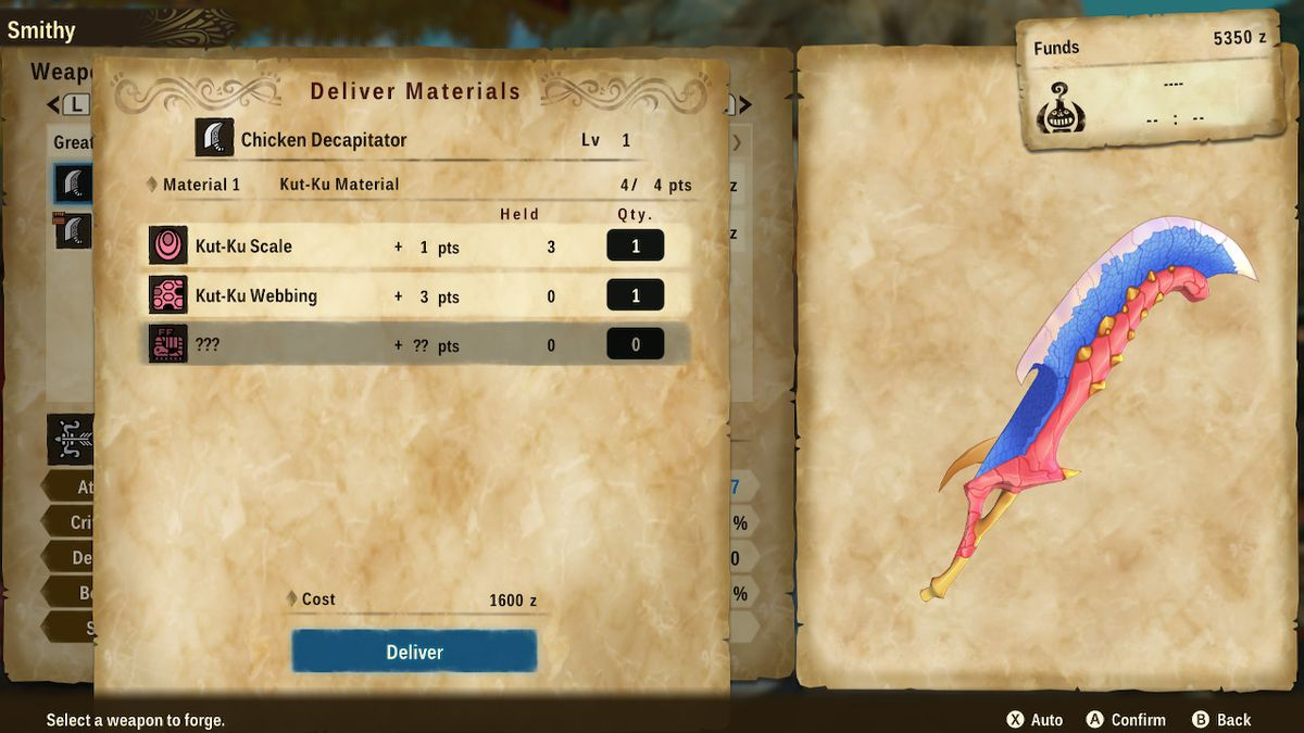 A crafting screen in Monster Hunter Stories 2: Wings of Ruin