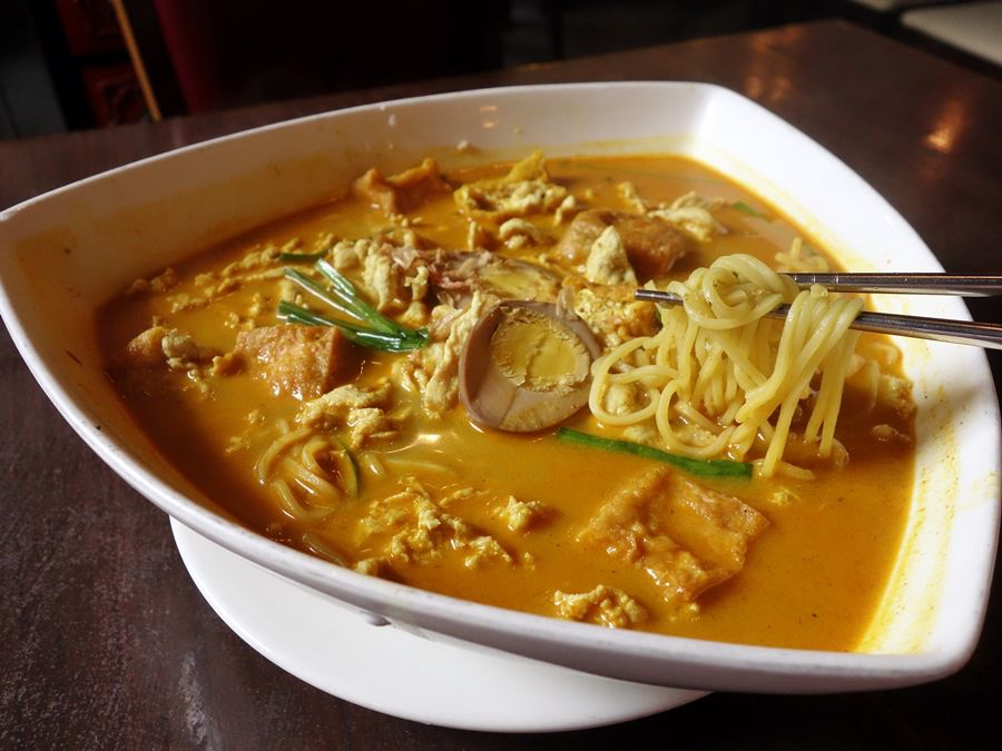 A bowl of laksa curry.