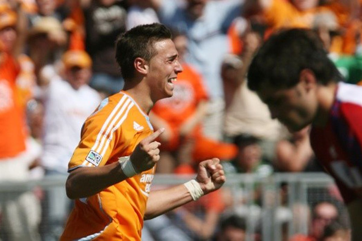 Geoff Cameron after scoring the equalizer against FC Dallas at Robertson Stadium, his first goal for the Houston Dynamo, on April 6, 2008.