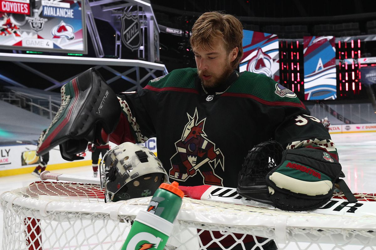 Goaltender Darcy Kuemper #35 of the Arizona Coyotes sorts his equipment before the first period of Game Four of the Western Conference First Round of the 2020 NHL Stanley Cup Playoff between the Colorado Avalanche and the Arizona Coyotes at Rogers Place on August 17, 2020 in Edmonton, Alberta.