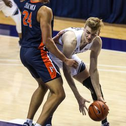 Brigham Young Cougars forward Matt Haarms (3) fights for the ball with Pepperdine Waves forward Kene Chukwuka (24) at the Marriott Center in Provo on Saturday, Jan. 23, 2021.