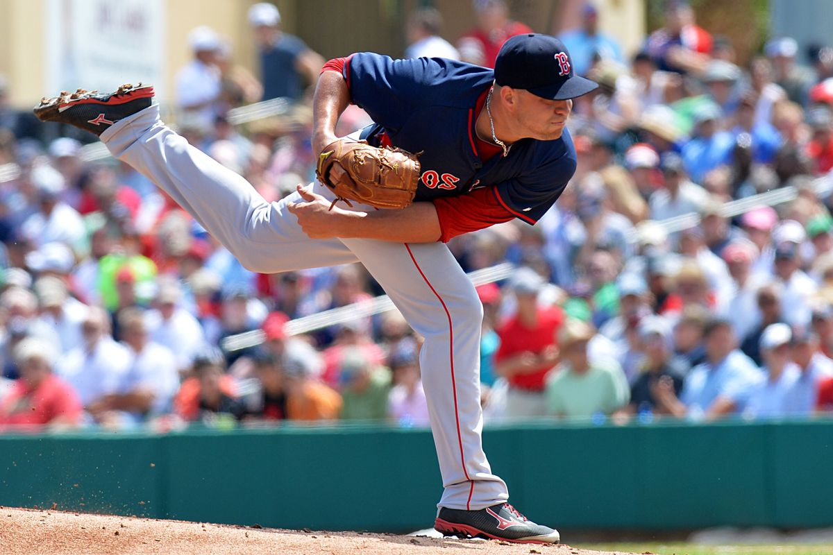 12be3812f98 Brian Johnson pitching for the Red Sox in spring training. Steve  Mitchell-USA TODAY Sports