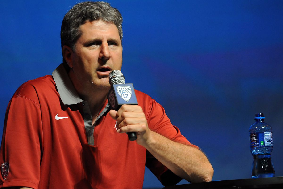 July 24, 2012; Los Angeles, CA, USA;     Washington State Cougars head coach Mike Leach answers media questions during PAC-12 Media Day at Universal Studios Hollywood. Mandatory Credit: Jayne Kamin-Oncea-US PRESSWIRE