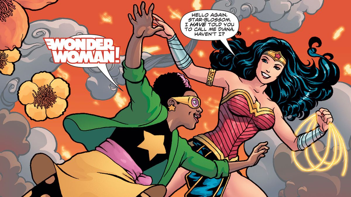 Star-Blossom/Peony McGill excitedly greets Wonder Woman at the sight of an apartment fire in Wonder Woman #750, DC Comics (2020).