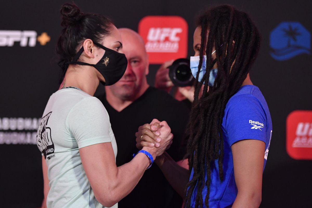 Opponents Ariane Lipski of Brazil and Luana Carolina of Brazil face off during the UFC Fight Night weigh-in inside Flash Forum on UFC Fight Island on July 17, 2020 in Yas Island, Abu Dhabi, United Arab Emirates.