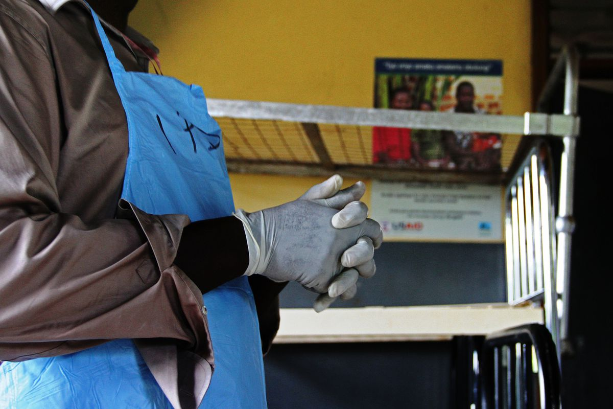 A Ugandan health official inside an isolation center on November 15, 2012.