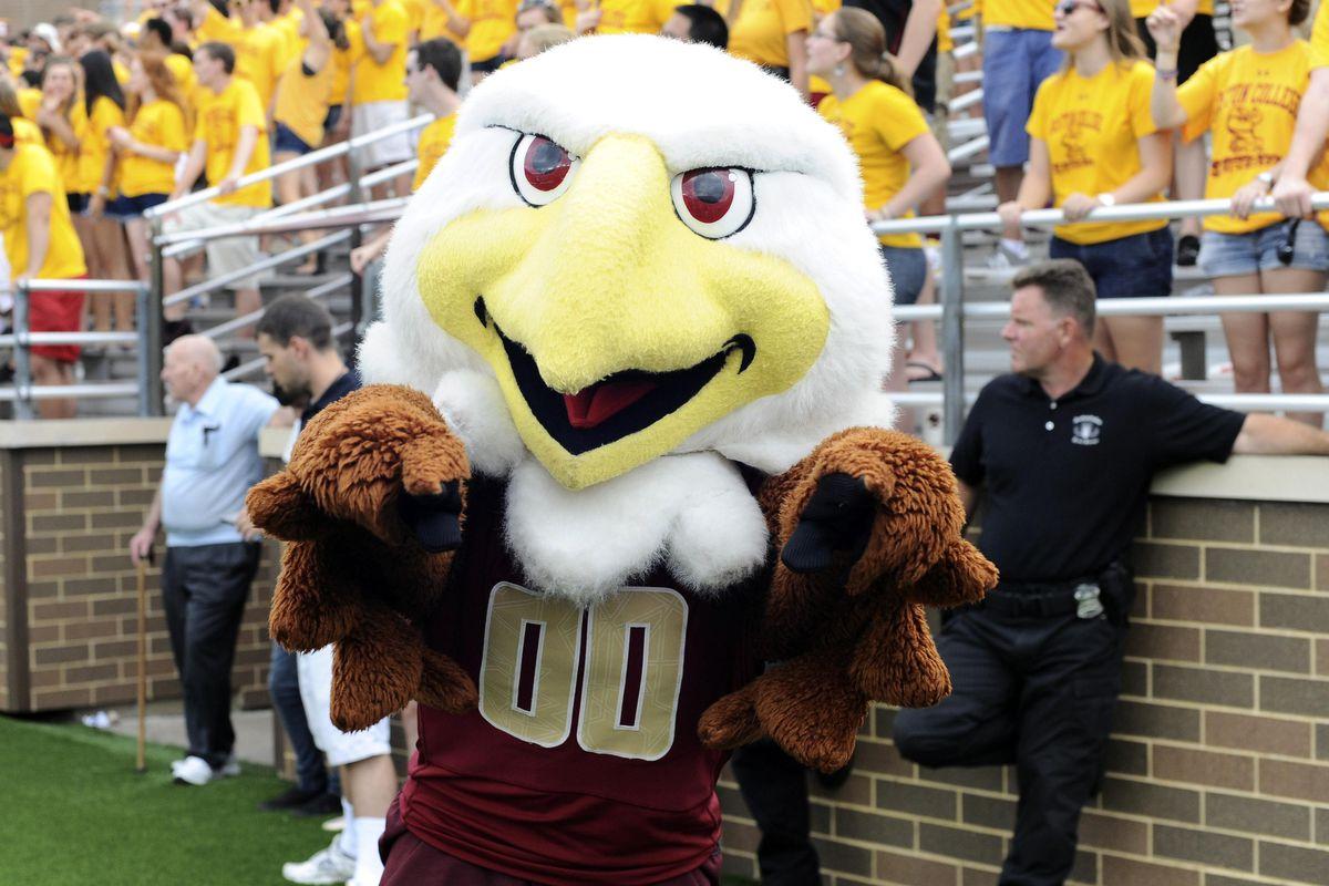 September 8, 2012; Boston, MA USA; The Boston College Eagles mascot Baldwin during the second half against the Maine Black Bears at Alumni Stadium. Mandatory Credit: Bob DeChiara-US PRESSWIRE