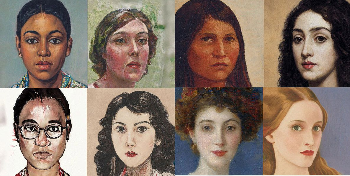 A selection of portraits in oil, watercolor, and ink styles