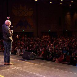 Sir Patrick Stewart addresses the crowd at Salt Lake Comic Con FanXperience.