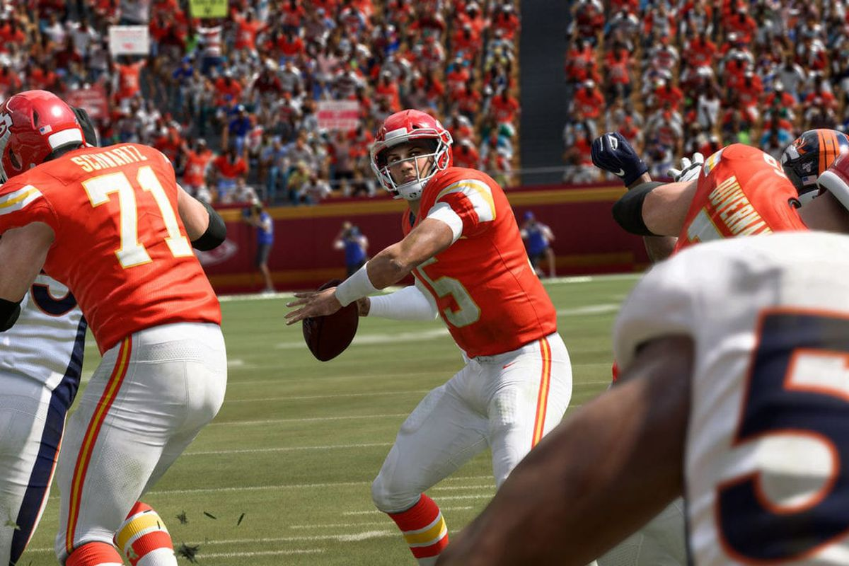 Patrick Mahomes, the Kansas City Chiefs quarterback, planting his back foot on the run and ready to unload against their hated rivals, the Denver Broncos, in Madden NFL 20