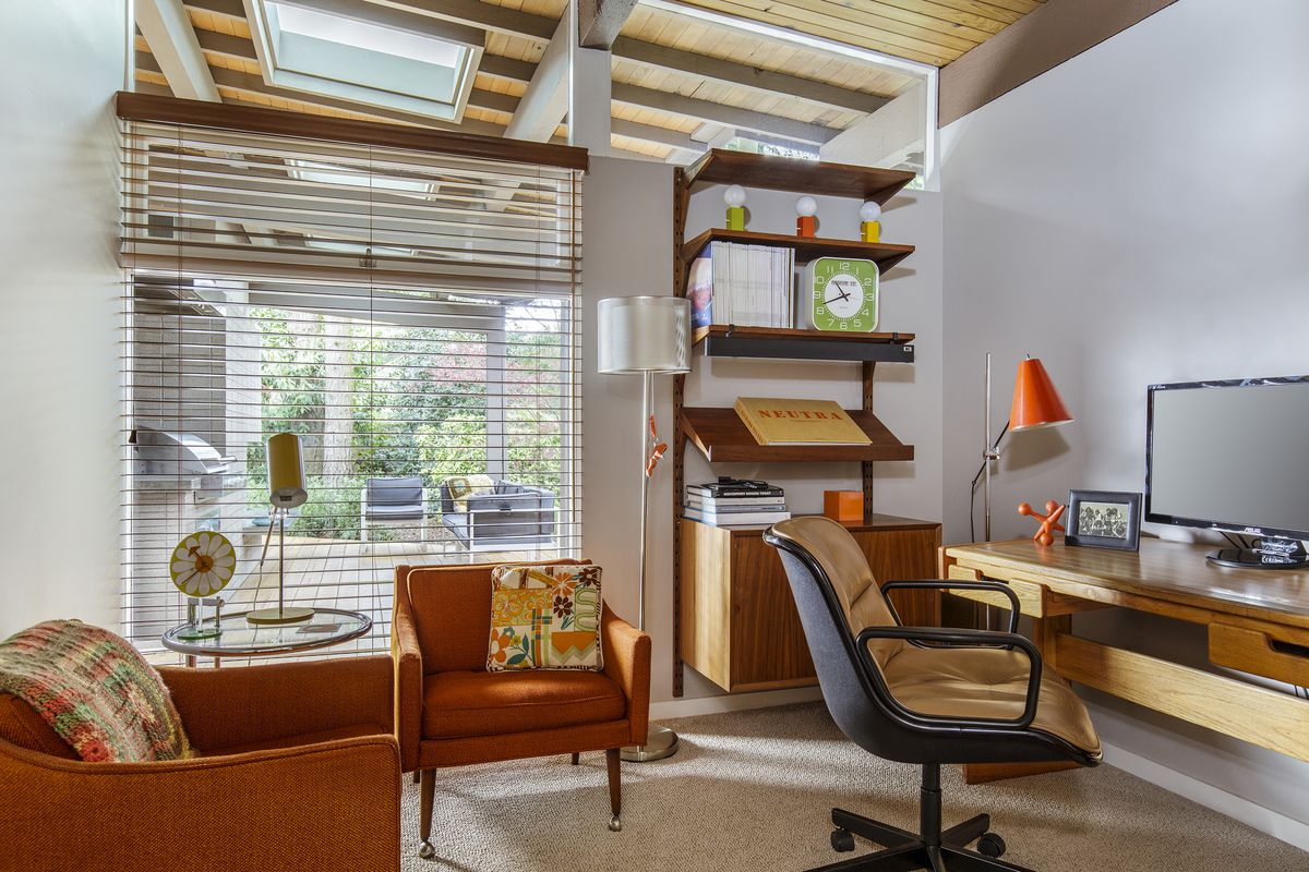 Robert nathans office has a complete set of midcentury furniture desk armchairs and