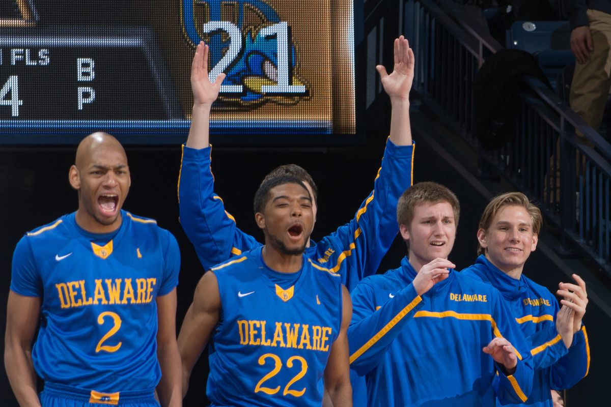 Delaware players celebrate from the bench.