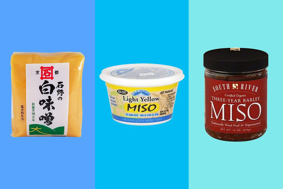 a container each of white, yellow, and barley miso