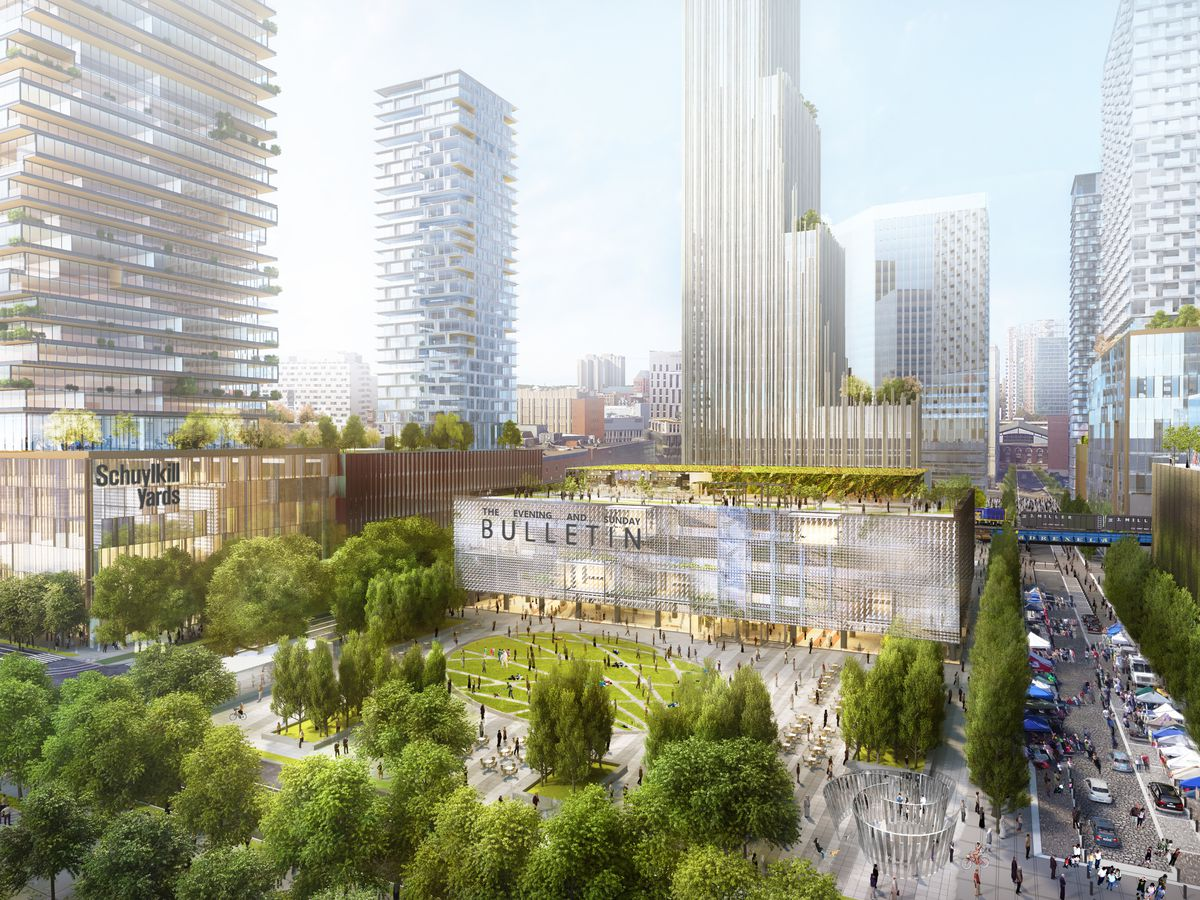 A rendering of Schuylkill Yards, surrounded by glassy towers.
