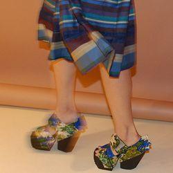 Floral cardboard shoes!