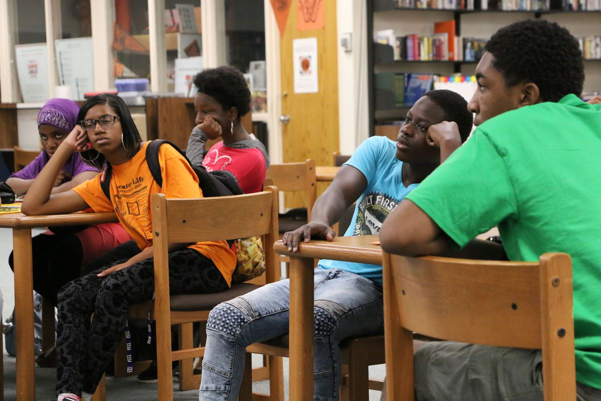 Weequahic students listen to the presentation by the student activists.