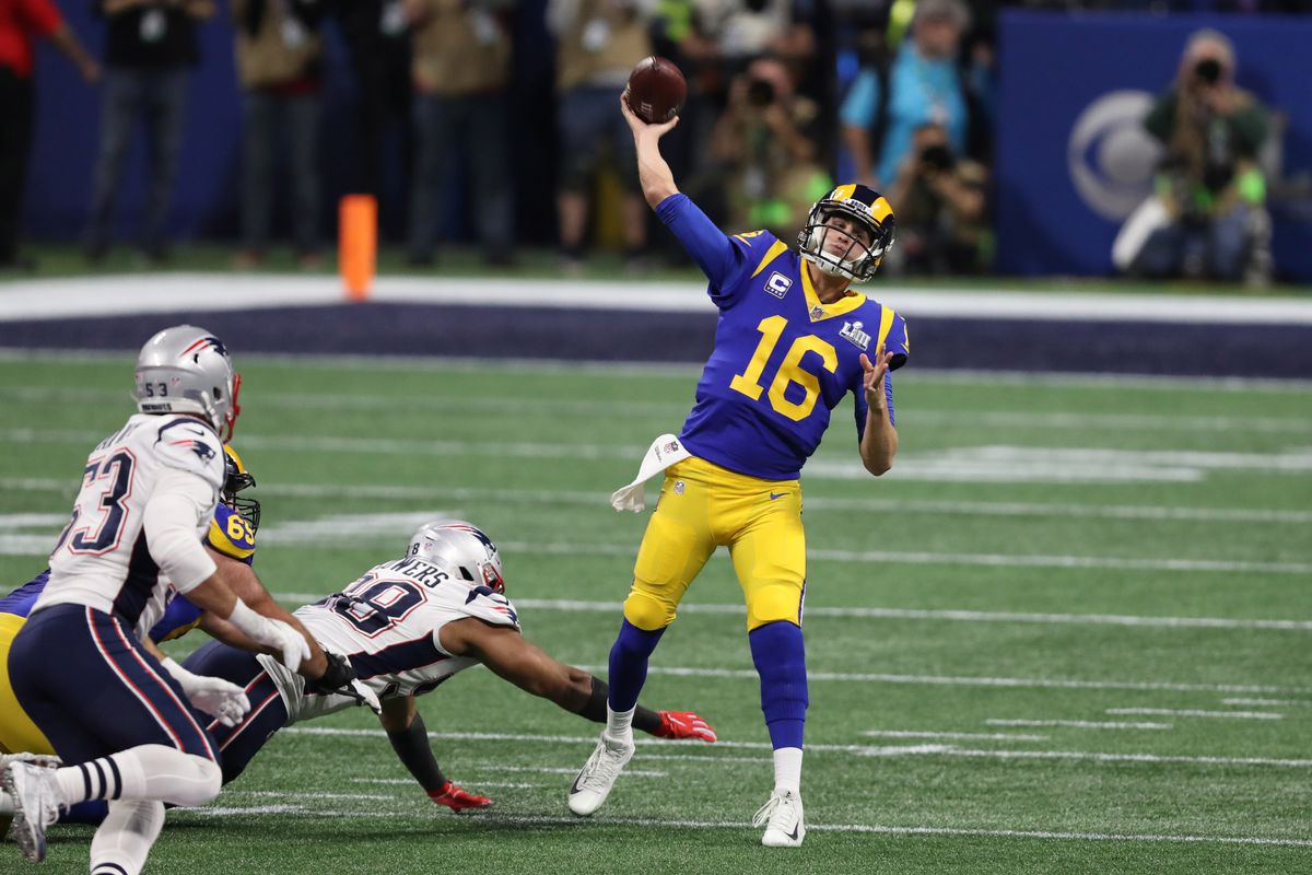 Los Angeles Rams QB Jared Goff passes the ball against the New England Patriots in Super Bowl LIII, Feb. 3, 2019.