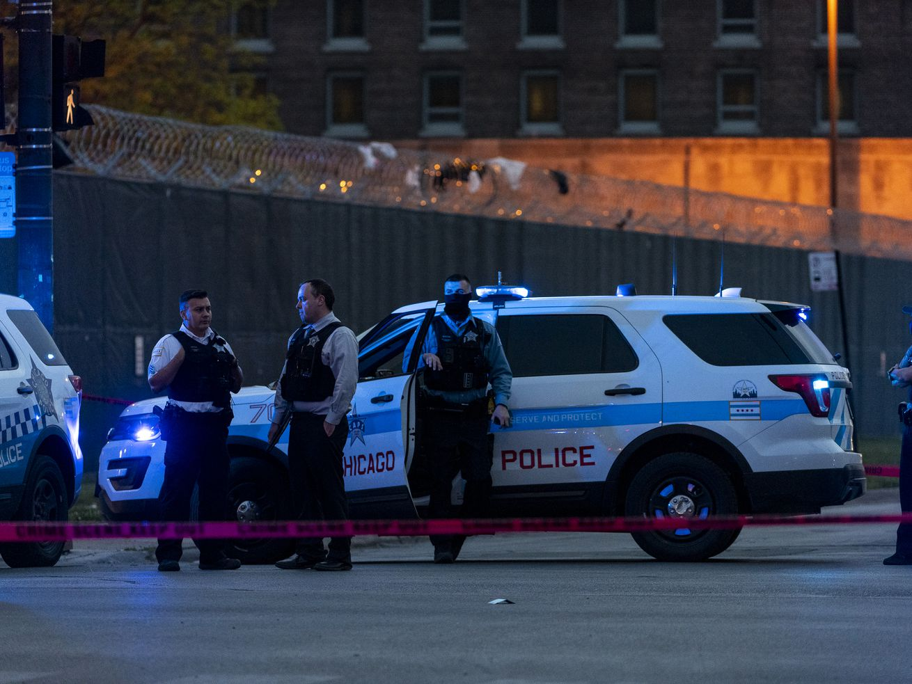 Chicago police work the scene where a 2-year-old girl was shot in the leg in the 2800 block of West 26th St. in the Little Village neighborhood, Friday, May 14, 2021.