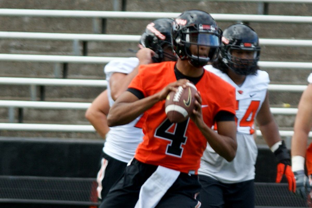 Seth Collins looks likely to win the starting quarterback job for Oregon State.