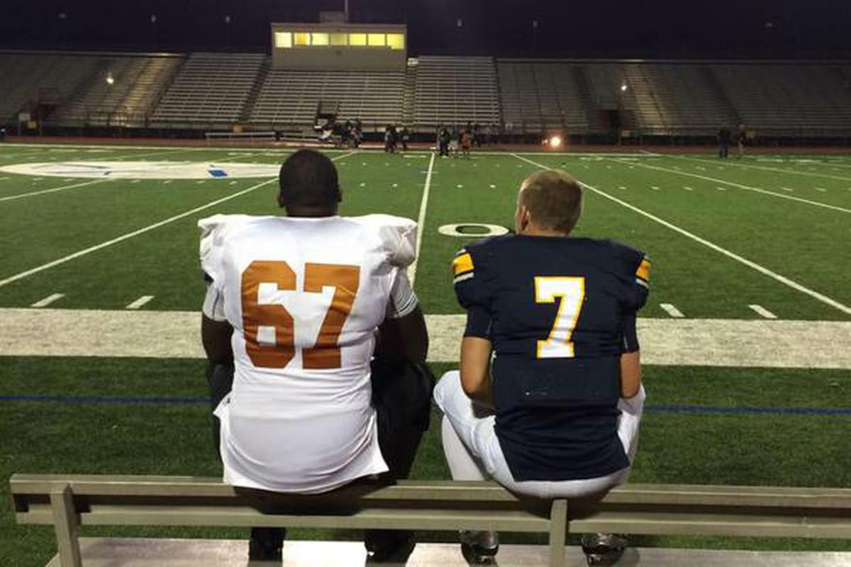 Texas commits Tope Imade (left) and Shane Buechele (right) at Cravens Field in Arlington after their teams faced each other on October 2, 2015