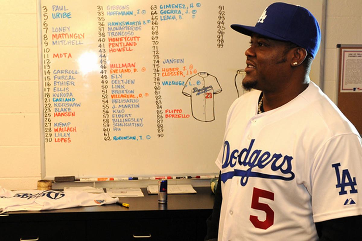 A picture is worth a thousand words...or 51 Dodger uniforms (<em>Photo: Jon SooHoo / LA Dodgers</em>)