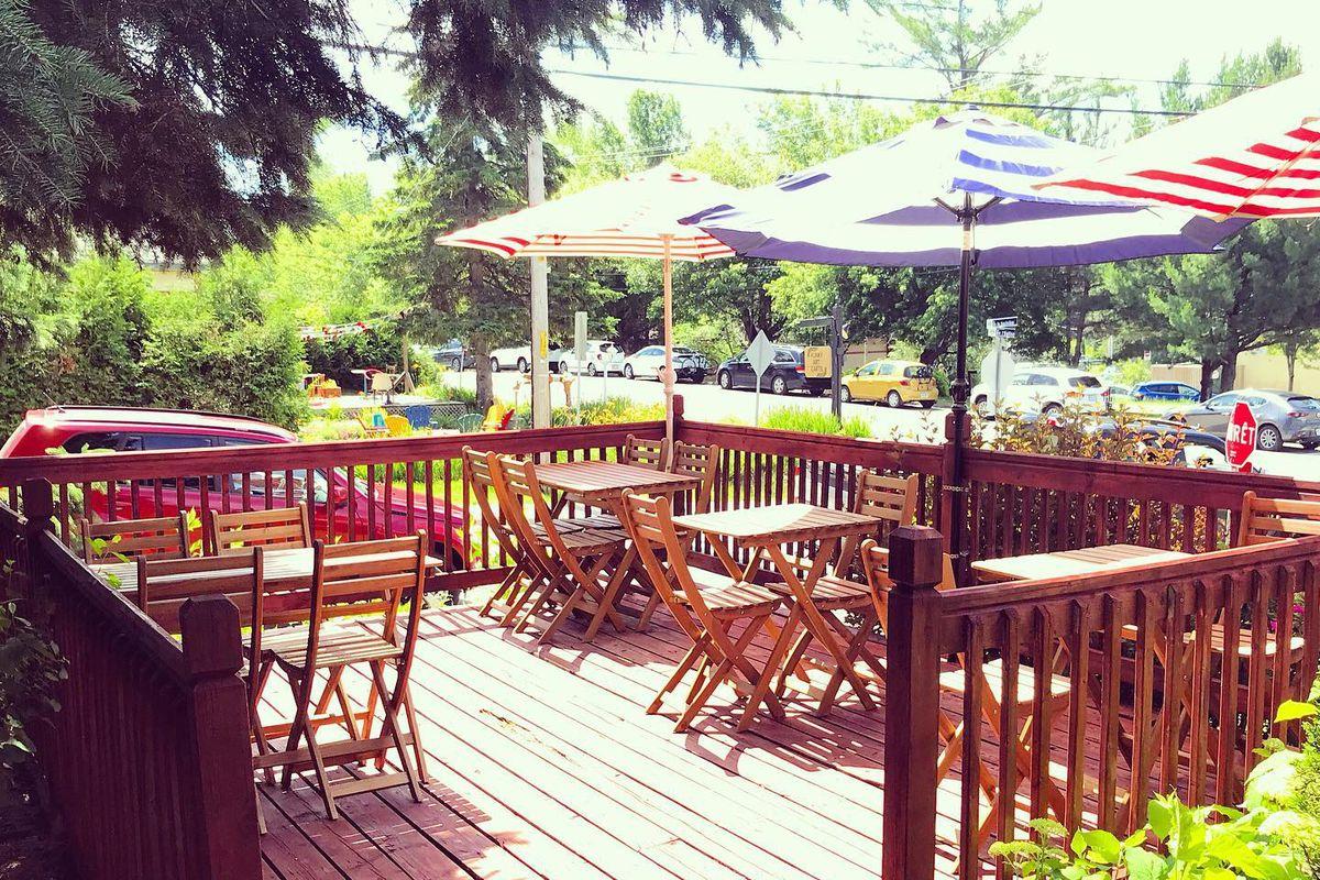 A patio with coloured umbrellas under a pine tree.